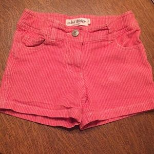 Mini Boden red and white striped shorts